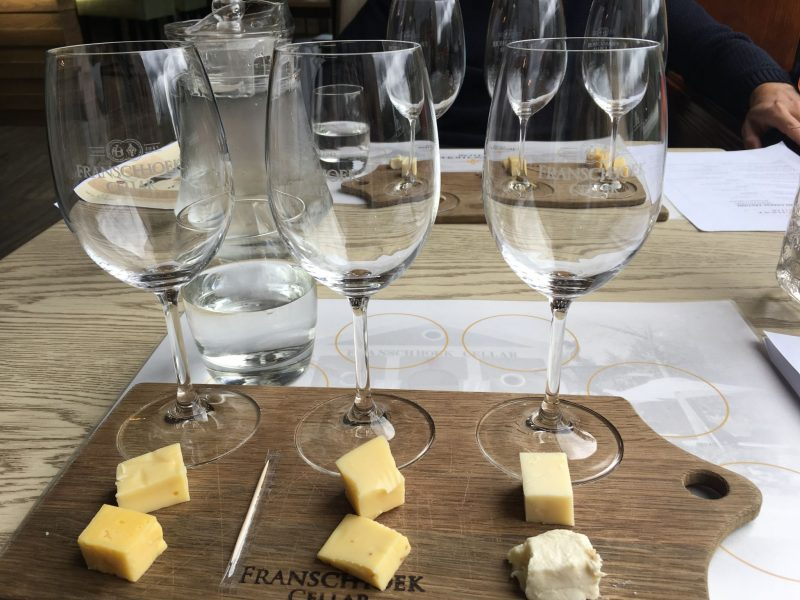 Franschhoek Cellar wine and cheese