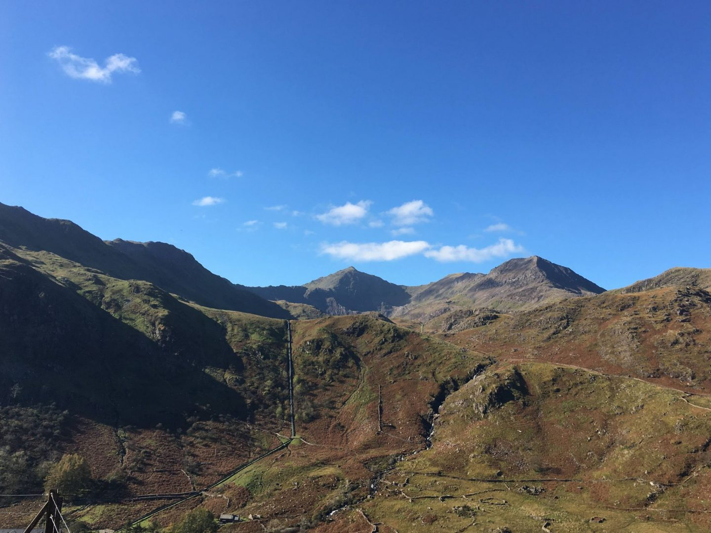 The Snowdon Horseshoe from the top of Nant Gwynant Pass